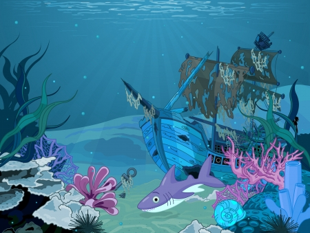 underwater fishes:   Underwater scene with old pirate ship Illustration
