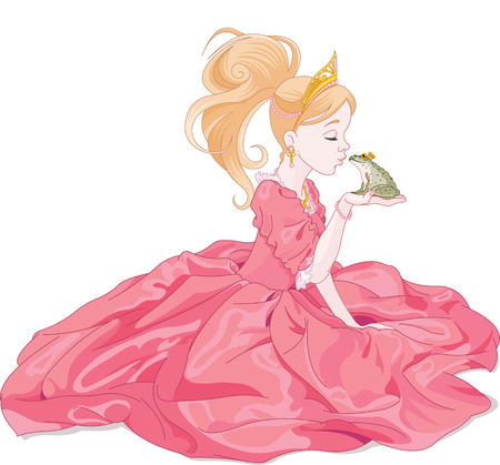Fairytale Princess kissing a frog,  hoping for a prince. Vector