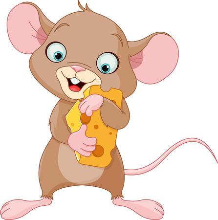 動物: 可愛的鼠標拿著一塊奶酪 向量圖像