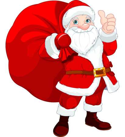 cartoon santa:  Cute Santa Claus with a bag full of Gifts