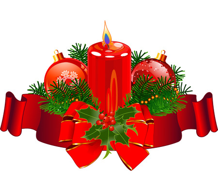 Christmas pillar candle surrounded by red stripe  Illustration