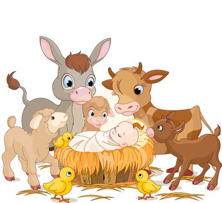 Heilige kind met ezel, lammeren, geiten en kalveren