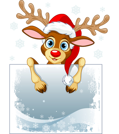 rudolph the red nose reindeer: Christmas reindeer holding blank sign