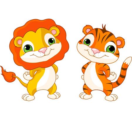 動物: 可愛的動物角色的獅子和老虎
