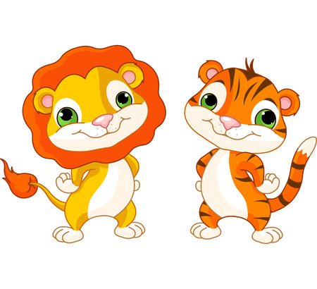safari animal: Cute animal characters lion and tiger