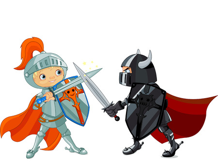 sword fight: Illustration of two fighting knights