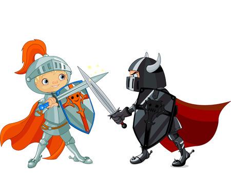 clipart: Ilustración de dos caballeros que luchan Vectores