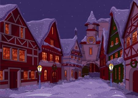 밤에 크리스마스 마을의 거리 일러스트