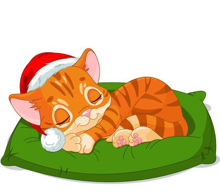 Cute little kitten with Santa's Hat sleeping