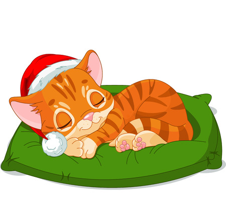 Cute little kitten with Santa's Hat sleeping  Vector