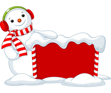 Cute Snowmen near Snowbound Christmas board  Ilustracja