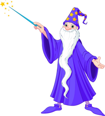 Cartoon wizard casting spell Vector