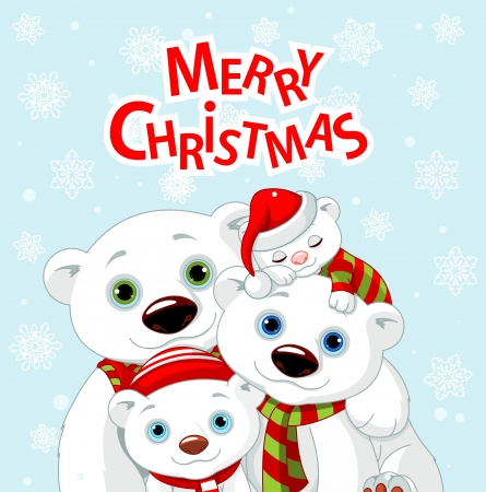 Polar bear family Christmas greeting card Vector
