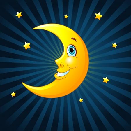 笑顔の放射状の背景に月  イラスト・ベクター素材