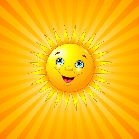放射状の背景に太陽の笑顔