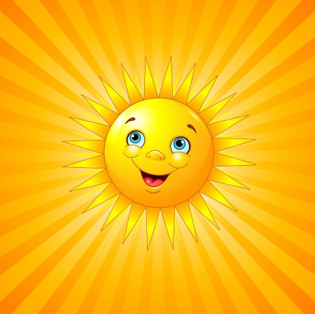Smiling sun on radial background  Vector
