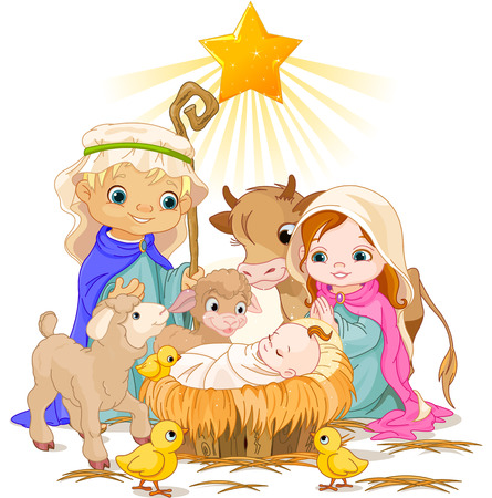 Christmas nativity scene with holy family Stock Vector - 23644397