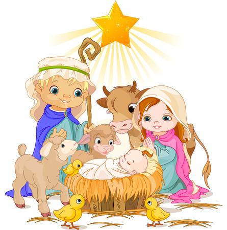 Pesebre de Navidad con la familia santa Foto de archivo - 23644397