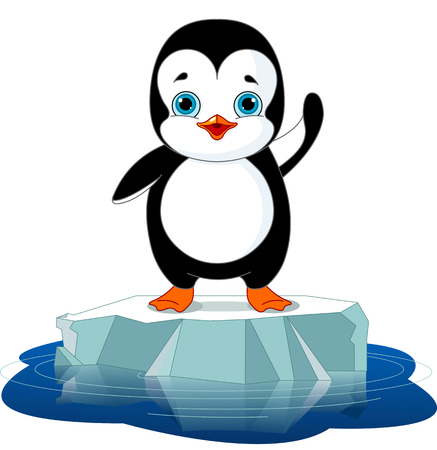 Cute  penguin on a ice floe Stock Vector - 23644394
