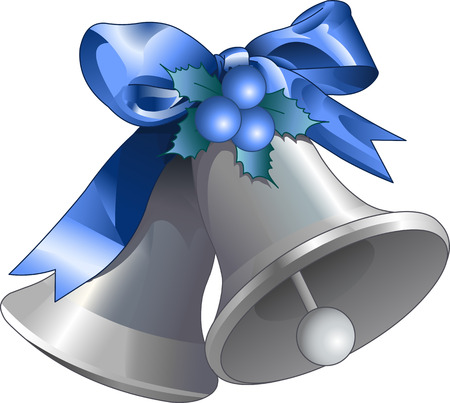 Illustration of silver Christmas bells