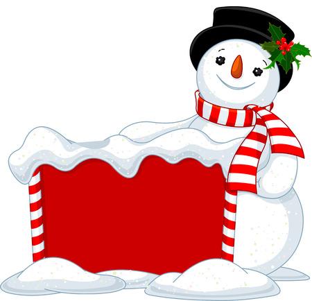 Cute Snowmen near Snowbound Christmas board  Illustration