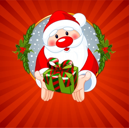 Christmas greeting card with Santa Claus giving a gift  Vector