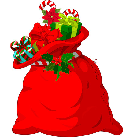 선물의 전체 큰 산타의 자루