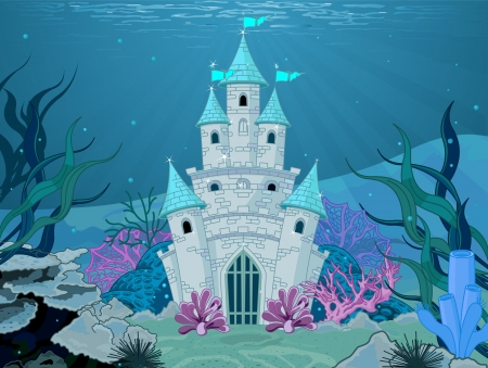 Magic Fairy Tale Mermaid Princess Castle  Vector