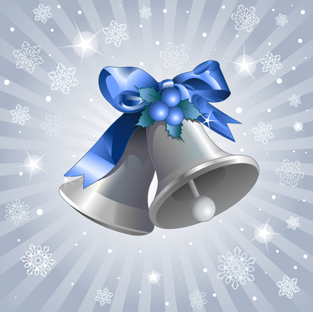 blue bow: Silver Christmas Bells background