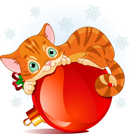 A cute kitten, lying happily on a Christmas tree decoration ball  Ilustrace