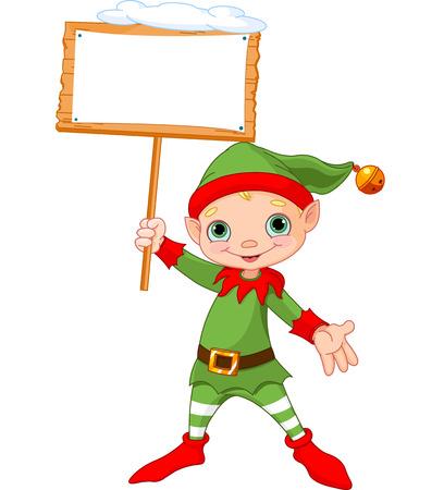 cartoon elfe: Cute Christmas Elf mit leeren Holzschild