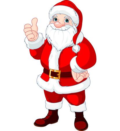 thumb's up: Christmas Santa Claus doing a thumbs up and smiling
