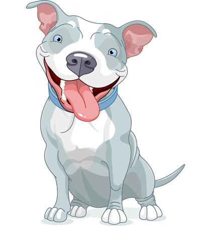 かわいいピット ・ ブル犬のイラスト