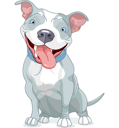 Illustration of Cute Pit Bull Dog  Illustration