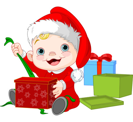 Cute Baby open Christmas gift Vector
