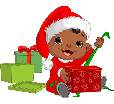Cute Baby aperto il regalo di Natale Archivio Fotografico - 23873027