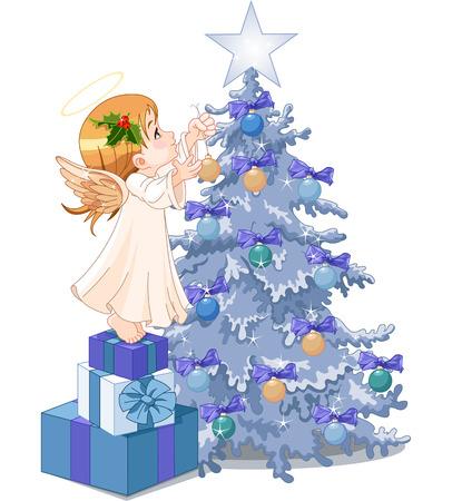 christmas tree illustration: Christmas Angel decorating Christmas tree