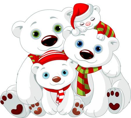 oso blanco: Ilustración de la familia del oso polar grande en Navidad