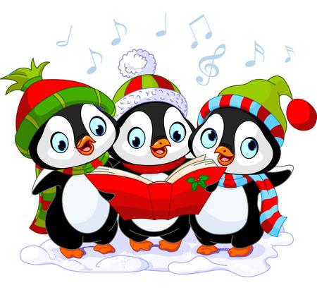 세 귀여운 크리스마스 carolers입니다 펭귄