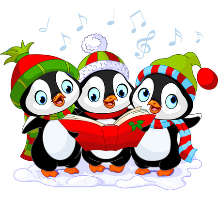 Three cute Christmas carolers penguins Vector