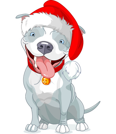 Illustration of Christmas Pit Bull Dog  Vector