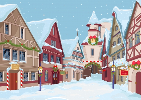 city  buildings: Christmas town street at winter day