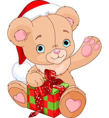 osos navideños: Cuadro de celebración de regalo de Navidad del oso de peluche