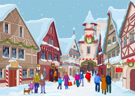 Christmas shopping street at winter day