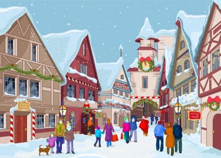 Kerstinkopen straat bij winterdag Stock Illustratie