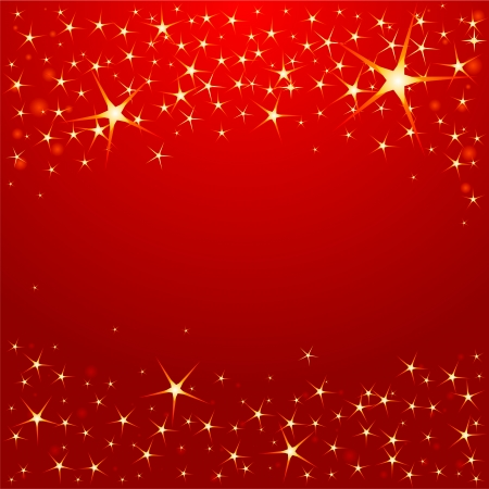 twinkling: Christmas stars on red background