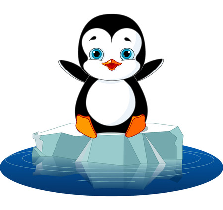 Cute  penguin on a ice floe Stock Illustratie