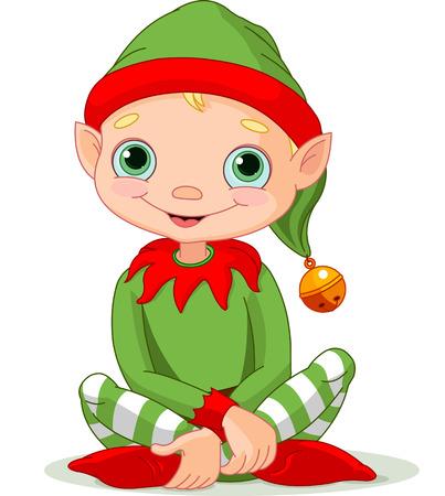 cartoon elfe: Illustration zu sitzen niedlichen Weihnachtself Illustration