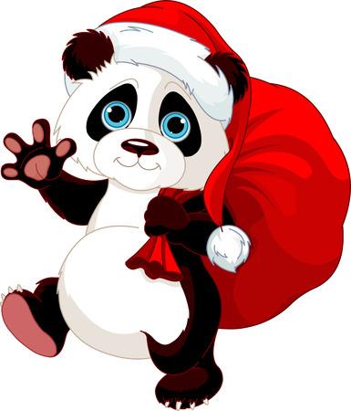osos navideños: Panda linda con un saco lleno de regalos