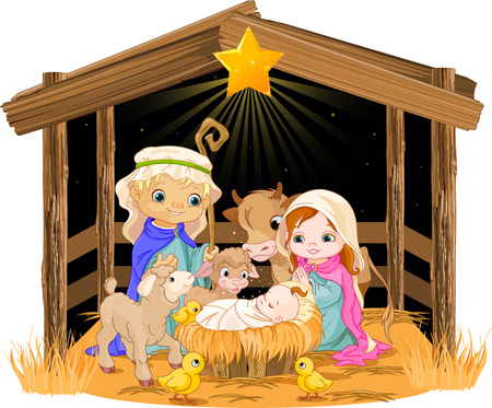 Christmas nativity scene with holy family   Stock Vector - 24155176